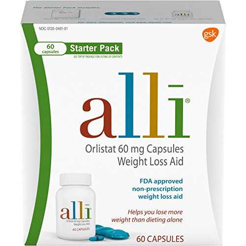 Contains 5 Refill Pads - alli Diet Weight Loss Supplement Pills Starter Pack, 60 Count