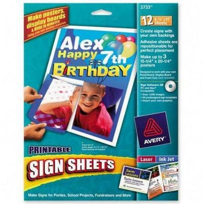 AVERY PRINTABLE SIGN SHEETS 12 SHEETS PER PACK 2733