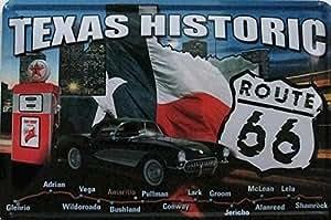 (Roys Art) - 30x20cm Texas Historic tin Signs Gift PUB Wall art Painting Poster Bar Decor