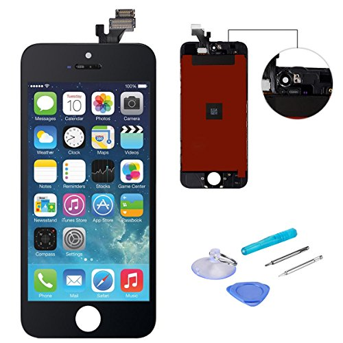 (WEELPOWER Black LCD Display Replacement Screen Digitizer Touch Screen Assembly for iPhone 5 with Repair Tool(Black))