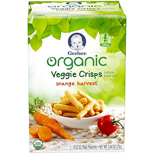 Gerber Graduates Organic Veggie Crisps, Orange, 5 Count (Pack of 2)