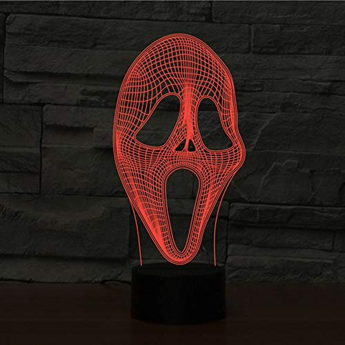 Novelty 3D Table Lamp 3D Human Facial Night Lights LED USB with 7 Colors Sensor Desk Lamp as Halloween Holiday Gifts]()
