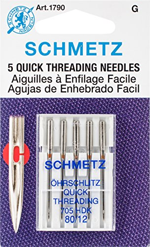 Machine Threading Sewing Needle (Euro-Notions Quick Self Threading Machine Needles, Size 12/80, 5/pkg)