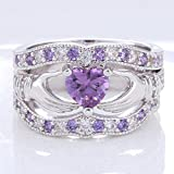 3PCs Irish Claddagh Celtic Heart Amethyst 925 Silver Wedding Ring Bridal Set New#by pimchanok shop (6)