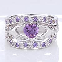 Promsup 3PCs Irish Claddagh Celtic Heart Amethyst 925 Silver Wedding Ring Bridal Set New (8)