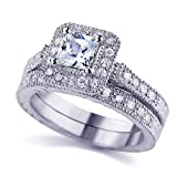 Sterling Silver Rhodium Plated, Princess CZ Vintage 2pcs Wedding Engagement Ring Bridal Set 10mm