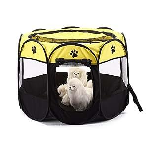 S-Lifeeling - Caseta de viaje para perro o gato para interior o exterior, funda de malla extraíble portátil y plegable para perros y gatos: Amazon.es: ...