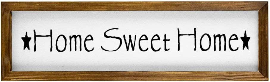 Home Sweet Home Framed Wood Sign, Wooden Wall Hanging Art, Inspirational Farmhouse Wall Plaque, Rustic Home Decor for Nursery, Porch, Gallery Wall, Housewarming Gift