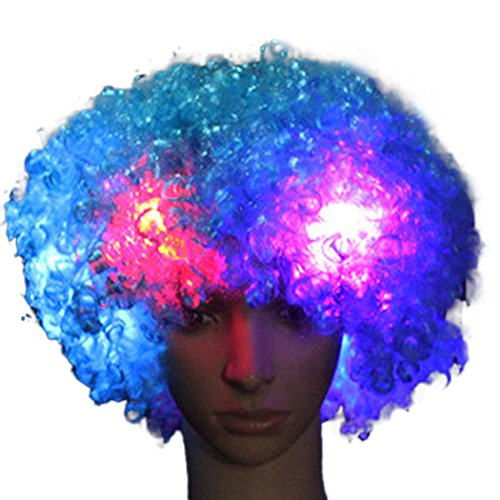 Light Up Blue Wig (Raylans LED Light Up Clown Wig Halloween Party Costume Sky Blue)