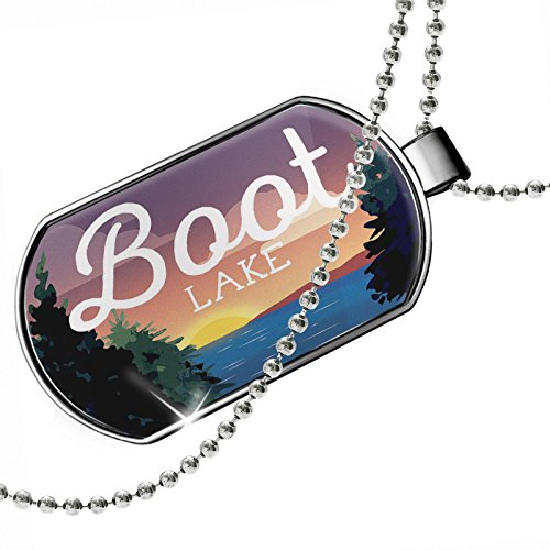Dogtag Lake retro design Boot Lake Dog tags necklace - Neonblond by NEONBLOND