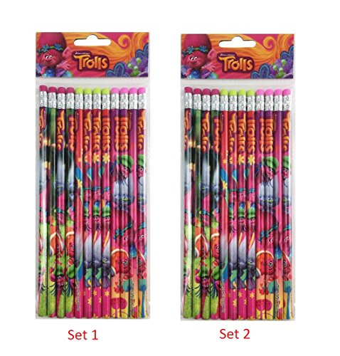 24 Pcs Trolls Wood Pencils Birthday Party Favors Bag Fillers - 2 (Party Pencil)