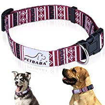 PETBABA Dog Collar, Adjustable Soft Collar with Geometric Print Pattern, Quick Release Clip Easy On and Off, Suitable Small to Medium Cat Pet in M