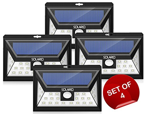 24 LED Wireless Outdoor Security Lights w/ 3LEDs on Sides- Set Of 4- Extra Wide Coverage- Eco Friendly Motion Activated Light- IP65 Waterproof Body- Bright Exterior Flood Lighting (Black) by Solario