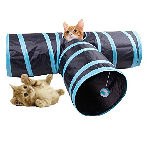 Collapsible 3-way Cat Tunnel Toy with Ball for Cat and Dogs (Blue) by OLESTAR