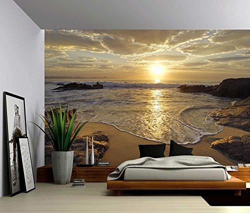 Picture Sensations Canvas Texture Wall Mural, Seascape Sunrise Sea Ocean Wave Sunset Beach, Self-adhesive Vinyl Wallpaper, Peel & Stick Fabric Wall Decal - 96x66