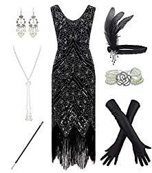 Black & Silver 1920s Fringe Beaded Dress with Costume Set
