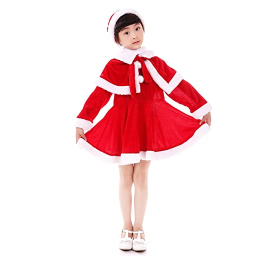 DREAMOWL Baby Girls Christmas Santa Claus Costume Dress Shawl Hat Xmas  Outfits (3-4T - Amazon.com: DREAMOWL Little Girls Christmas Dress Santa Claus