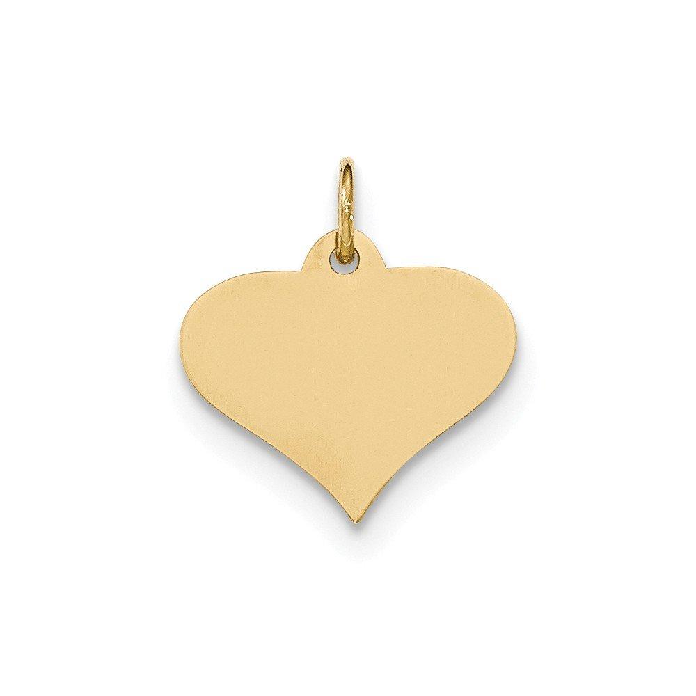 14k Yellow Gold Plain .011 Gauge Engraveable Heart Disc Charm Pendant