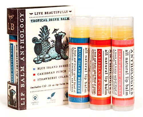 Tropical Drinks Lip Balm Set - All Natural - Includes 3 Tropical Flavors (Fragrance Solid 0.15 Ounce)