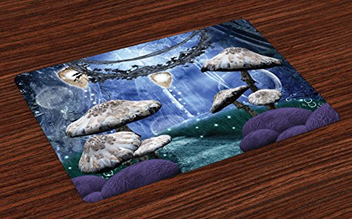 Ambesonne Trippy Place Mats Set of 4, Abstract Dreamlike Forest Scenery at Night with Mushrooms Pixie Dust and Bubbles, Washable Fabric Placemats for Dining Room Kitchen Table Decor, Multicolor