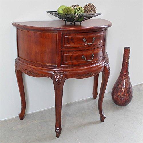 International Caravan Hand Carved Wood Half-Moon 2-Drawer Console Table