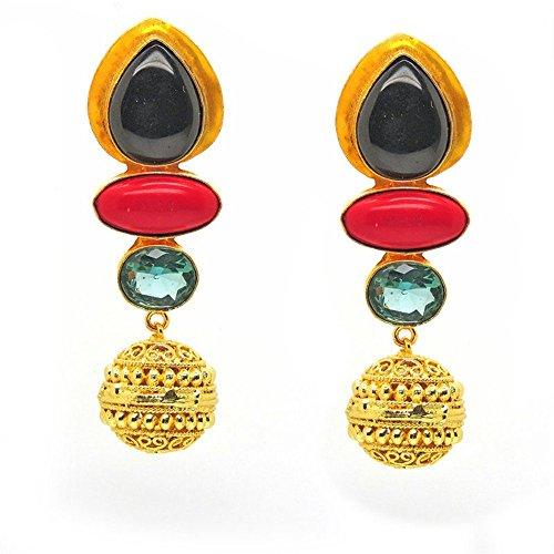 Vaidehijewellers01 Designer 18k Gold Plated Black Onyx,Red Hydro,Aqua Hydro Stud Beautiful Part Wear Earring for (Designer Onyx Stud)