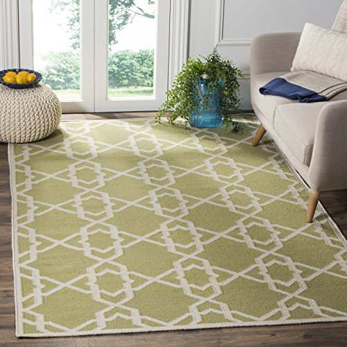 Safavieh Dhurries Collection DHU548A Hand Woven Olive and Ivory Premium Wool Area Rug (5' x 8') -