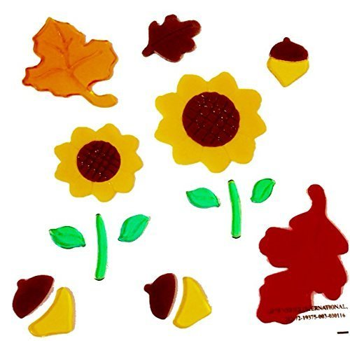 Autumn 19 Count Gel Window Cling Decorations Sunflowers Acorns Leaves Fall Thanksgiving Harvest Theme ~ Very Cute (Cute Homemade Owl Costume)