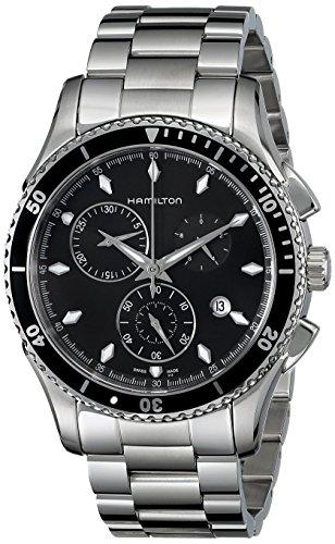 Mens Elite Bracelet Watch - Hamilton Men's H37512131 Jazzmaster Seaview Black Chronograph Dial Watch