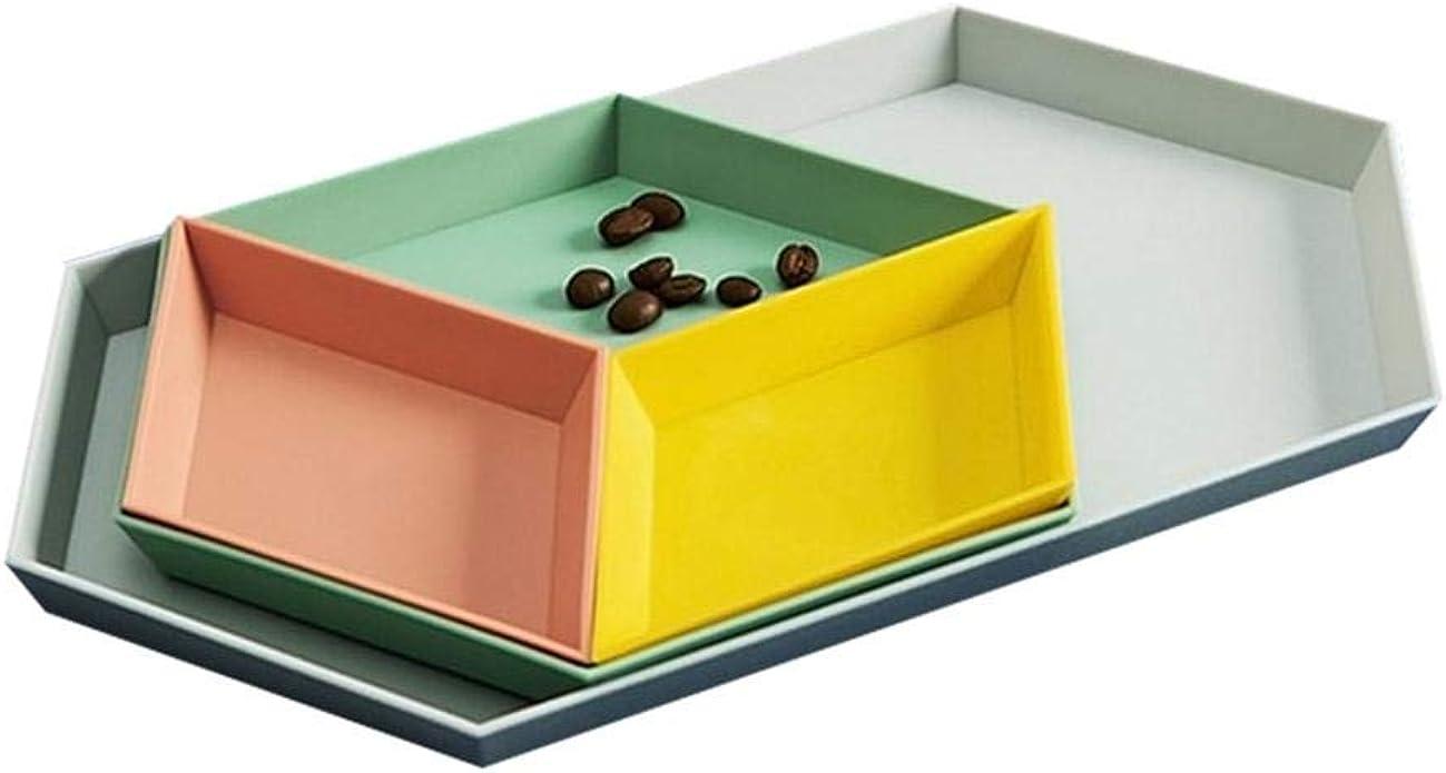UMIWE - Juego de 4 bandejas de plástico apilables geométricas para ...