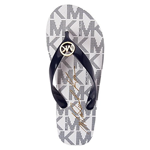 Michael Michael Kors Women's MK Flip Flop Jet Set Rubber, White/Navy/Gold Logo, 8 M (Michael Kors White Sandals)