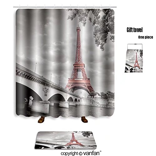 Green Monochrome Resin (vanfan bath sets with Polyester rugs and shower curtain view of eiffel tower in monochrome style with shower curtains sets bathroom 40 x 72 inches&23.6 x 15.7 inches(Free 1 towel and 12 hooks))