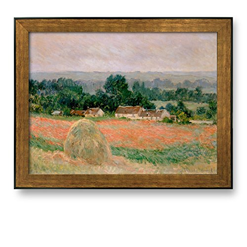 Framed Art Haystack at Giverny by Claude Monet Famous Painting Wall Decor Bronze and Black Frame