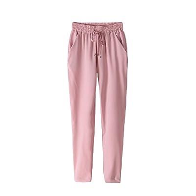 Cutecc Women Fashion Summer Casual Harem Elastic Waist Drawstring Trousers Pants