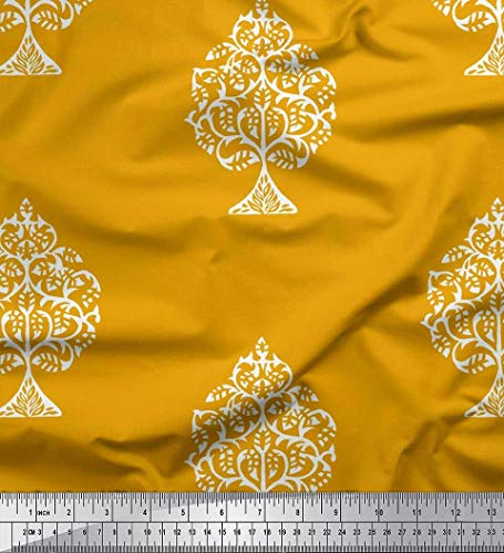Soimoi Gold Cotton Poplin Fabric Tree Block Print Fabric by Yard 42 Inch Wide