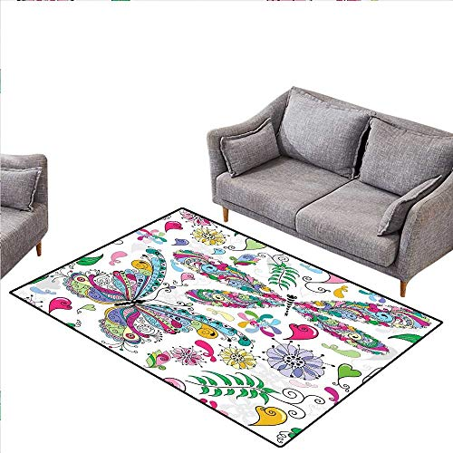 Dragonfly Anti-Skid Rugs Butterfly Dragonfly Paisley Complex Motifs with Diverse Ethnic Lines Art Image Girls Rooms Kids Rooms Nursery Decor Mats 4'x6' Multicolor (Paisley Rug Butterfly)