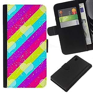 iBinBang / Flip Funda de Cuero Case Cover - Pattern Pink Teal Purple Lines - Sony Xperia Z1 L39H