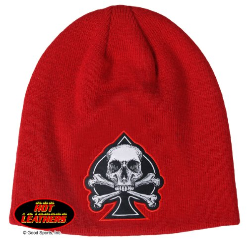 Vagabond Joes Embroidered Biker Red Black White Choppers Maltese Iron Cross Spade Beanie Stocking Cap Hat - Iron Cross Hat Cap