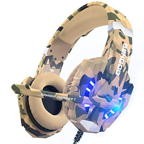 BENGOO Stereo Gaming Headset for PS4, PC, Xbox One Controller, Noise Cancelling Over Ear Headphones Mic, LED Light, Bass Surround, Soft Memory Earmuffs for Laptop Mac Nintendo Switch -Camouflage from Bengoo