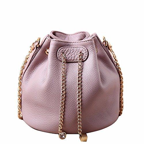 Cadena de señora en piel satchel bag/cuchara hembra mini moda bolsa bolsa cowhide único paquete de hombro, Rosa Verde