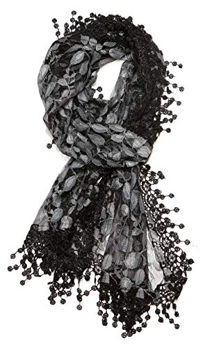 Women's lightweight Feminine lace teardrop fringe Lace Scarf Vintage Scarf Mesh Crochet Tassel Cotton Scarf for Women,One Size,Black & Gray 21]()