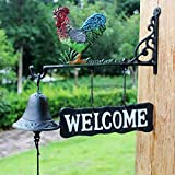 GLJJQMY Wrought Iron Doorbell Cock Cast Iron Clock Hanging Decoration Welcome Wall Hanging Garden Decoration Crafts 33x10x27cm etro doorbell