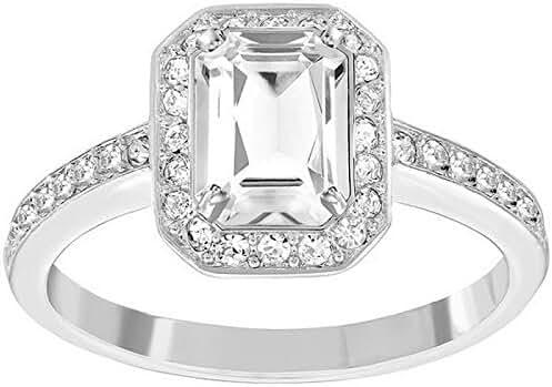 Swarovski Rhodium-Plated Stainless Steel Attract Light Rectangular Ring 5113788