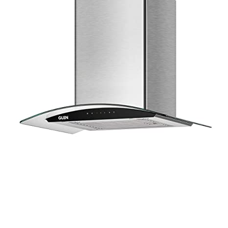 Glen 60cm Auto Clean Chimney with 1200 M3/H Suction, Soft Touch Panel Control, Curve Glass Body Baffle Filter (6063 SS)