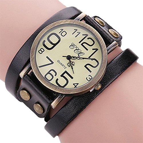 Hunputa Luxury Brand Vintage Cow Leather Bracelet Watch Men Women Wristwatch Ladies...