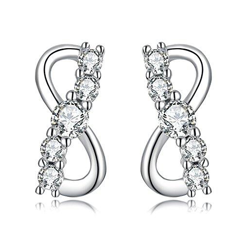 Sterling Silver Cubic Zirconia Infinity Symbol Stud Earrings for Women Jewelry