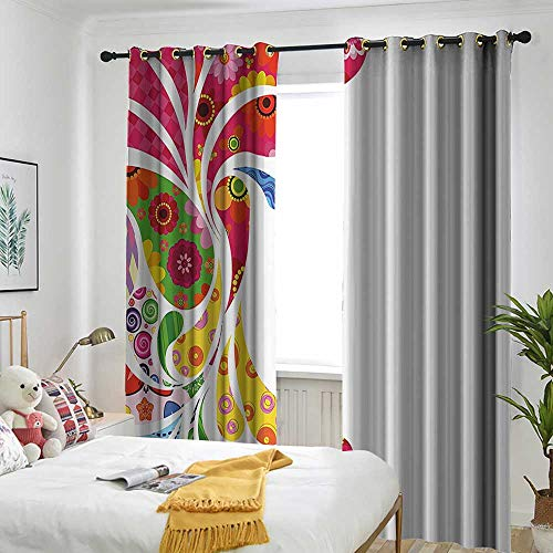 one1love Colorful Home Decor Indoor/Outdoor Curtains Paisley Leaves with Floral Elements Inside Carnival Inspired Retro Design Energy Efficient, Room Darkening 84