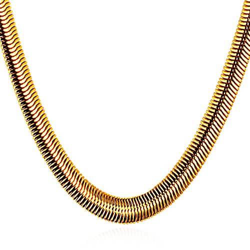 18K Gold Plated Mesh Chain Jewelry Men 8mm Wide Snake Chain Necklace,26 (18k Gold Plated Mesh)