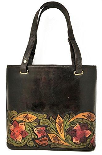 Mauzari Sayulita Designer Pretoria Vintage Floral Artisan Hand Chiseled Hand Painted Leather Handmade Adjustable Tote Handbag (Walnut) by Mauzari Sayulita