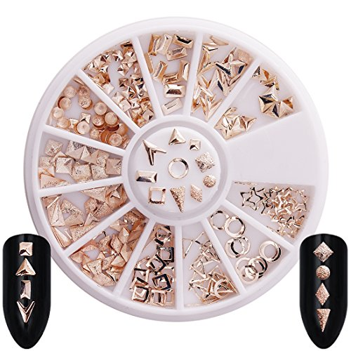 Rose Gold Rivet Nail Studs Oval Circle Square Triangle Hollow Frame Mixed Sizes DIY Metallic 3D Nail Art Charm Decoration -